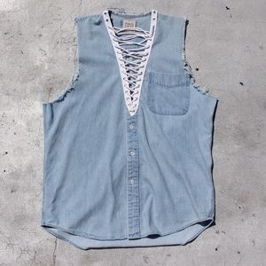 'Furst of a Kind' Chambray V-Neck Sleeveless Top